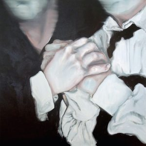 Painting of a couple clasping hands