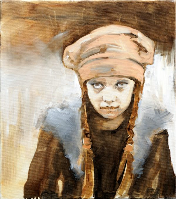 Painting of a girl with hat and pigtails from the collection Keepers by Larissa Eremeeva