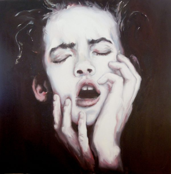 Portrait of a girl in anguish with eyes closed and hands on cheeks