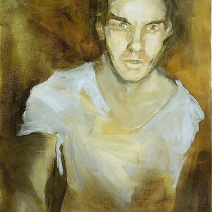 Painting head and torso of a young man in white t-shirt