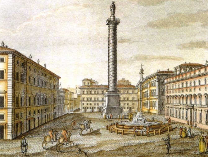 Historic etching of Piazza Colonna