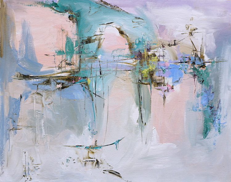 Modern abstract painting of a seascape in pastel shades inspired by Abruzzo