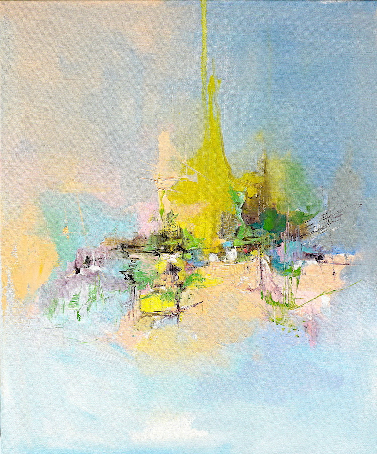 Modern abstract painting in light colours of a peaceful mountain landscape expressing a safe place in turmoil