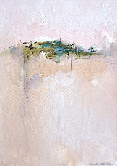Modern abstract oil painting of a city floating in a delicate Italian pastel landscape