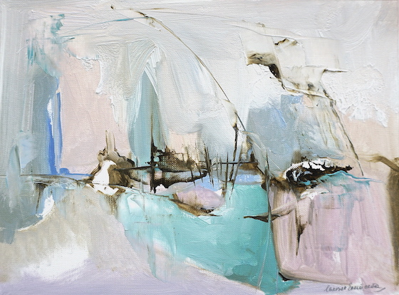 Modern abstract expressionist oil painting of an Italian landscape in pink and green pastel shades