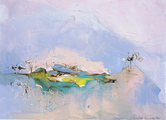 Abstract expressionist oil painting of the mountains of Abruzzo in purple and pink pastel shades with subdued yellow highlights