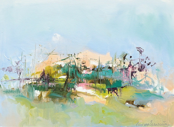Abstract oil painting of an Italian landscape with the colours of Abruzzo under a blue sky