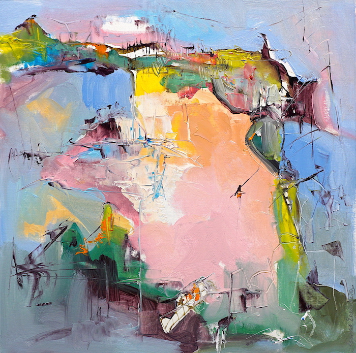 Modern abstract oil painting of a mountainous Italian landscape in lively pinks, blues and other colours
