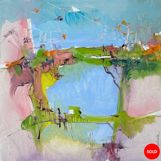Modern abstract oil painting of a mountainous Italian landscape in lively greens, blues and other colours