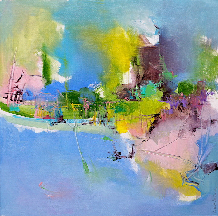 Modern abstract Italian mountain landscape in vibrant colours on blue backdrop