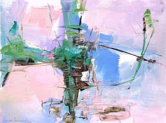 Modern abstract expressionist painting of an Abruzzo landscape in pastel shades