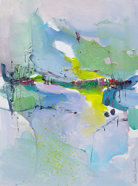 Modern abstract painting in soft shades of green, yellow and mauve of an Abruzzo hill village landscape