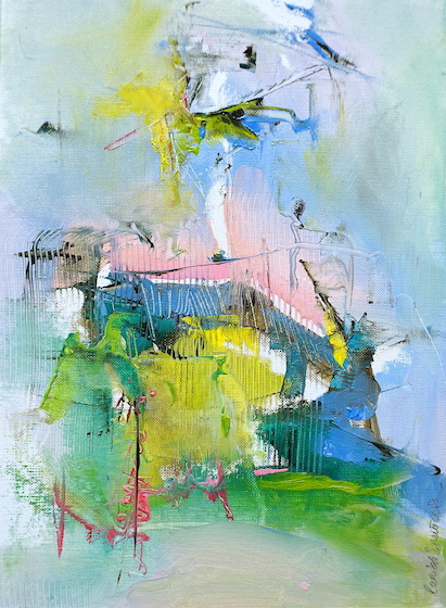 Abstract expressionist oil painting inspired by landscape of Abruzzo, Italy in pink, green, blue, yellow pastel shades
