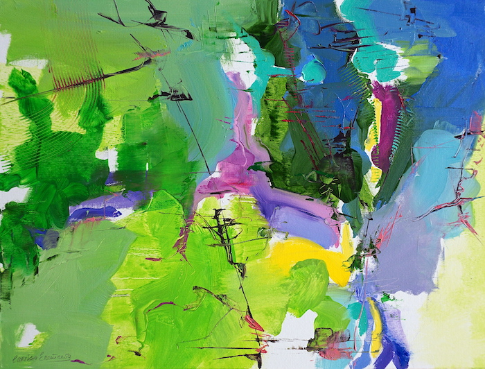 Abstract expressionist oil painting inspired by Abruzzo with vivid magenta, green and blue fields intercepted by arcs and lines