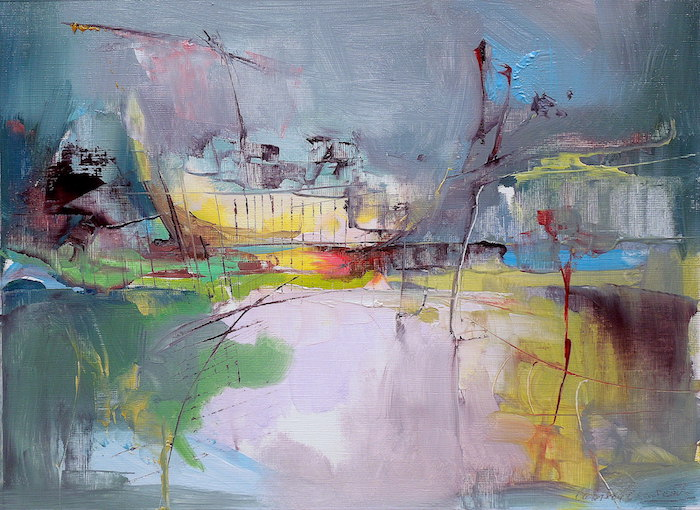 Modern abstract expressionist seascape with dark skies and bright highlights