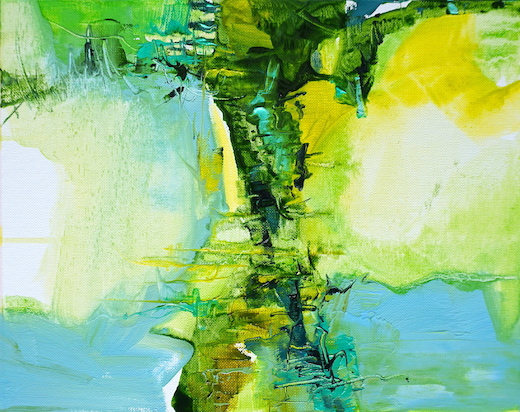 Abstract expressionist oil painting of olive groves in Abruzzo in striking combination of greens, blues, yellows