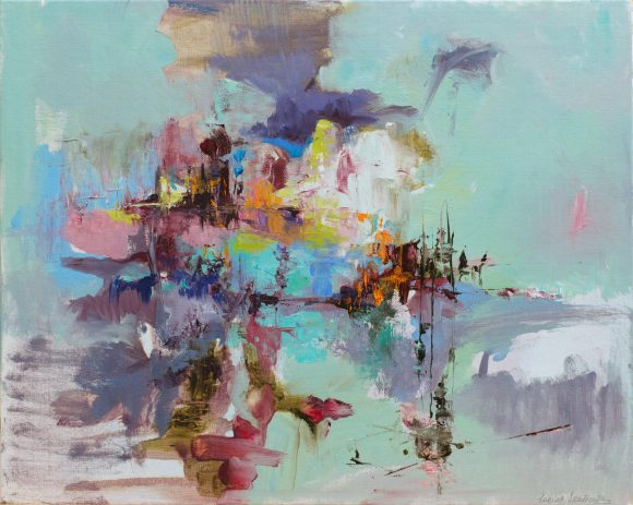 Modern abstract painting of a landscape with colours inspired by Abruzzo