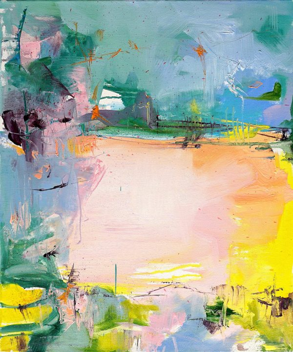 Modern abstract painting in bright colours of an Abruzzo agricultural landscape