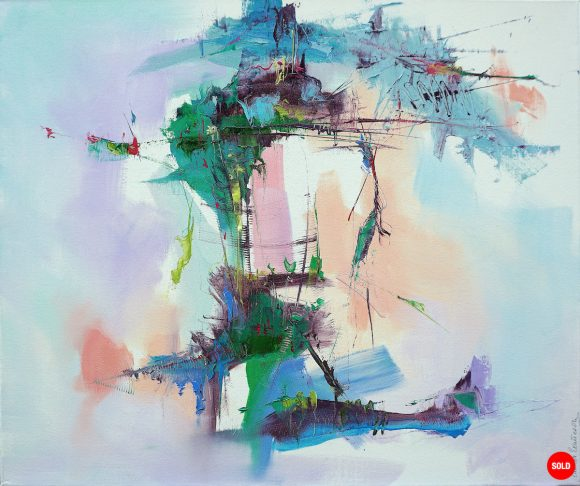 Modern abstract painting of an energised landscape with contrasting dark and pastel shades