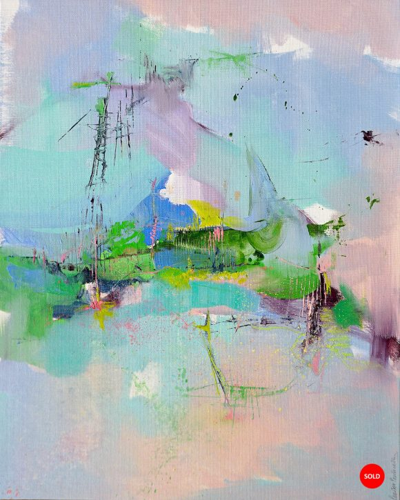 Modern abstract painting in pastels and green of a landscape inspired by Abruzzo