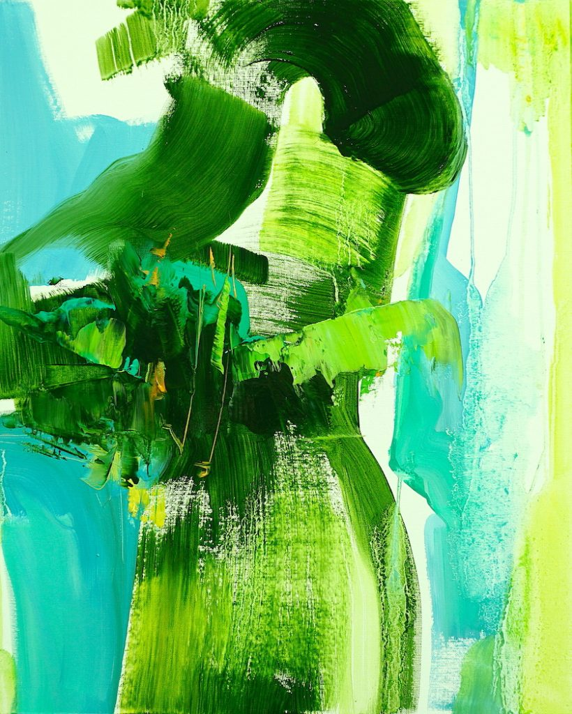 Abstract expressionist oil painting in rich greens and blues