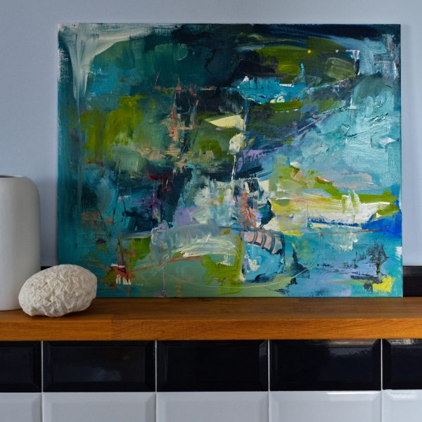 Abstract expressionist landscape oil painting Mood 19 against wall framed by a earthenware pots