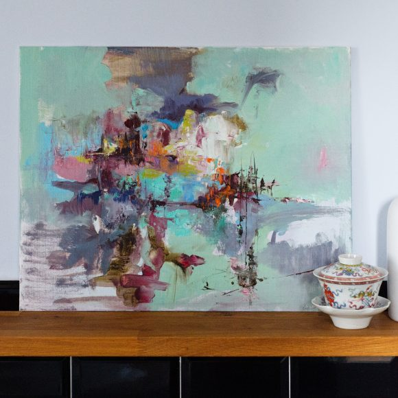 Abstract expressionist landscape oil painting Mood 20 against wall framed by a earthenware pots