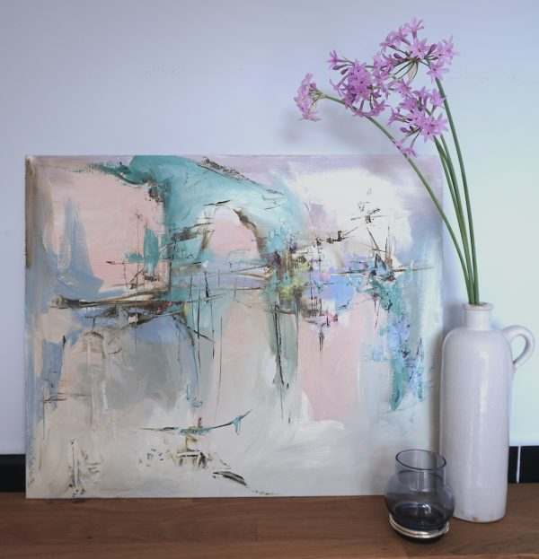 Abstract expressionist landscape oil painting Mood 24 against wall framed by a earthenware pots