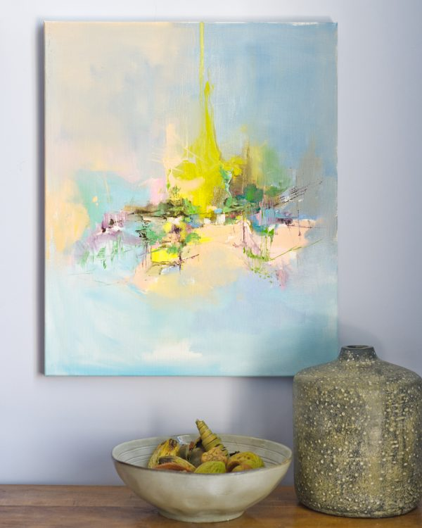Abstract expressionist landscape oil painting Mood 30 hanging on wall framed by a earthenware pots