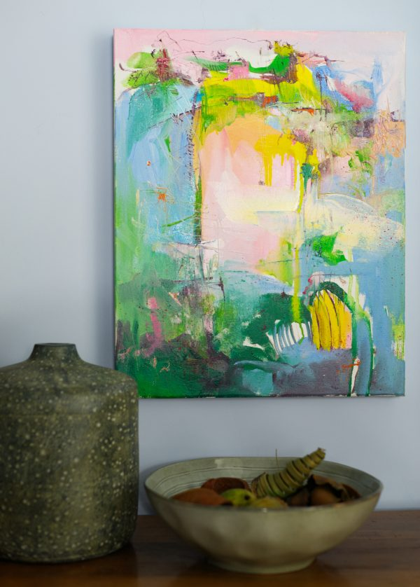 Abstract expressionist landscape oil painting Mood 32 hanging by earthenware pots