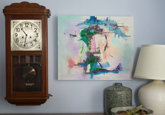 Abstract expressionist landscape oil painting Mood 32 hanging by clock and earthenware pots