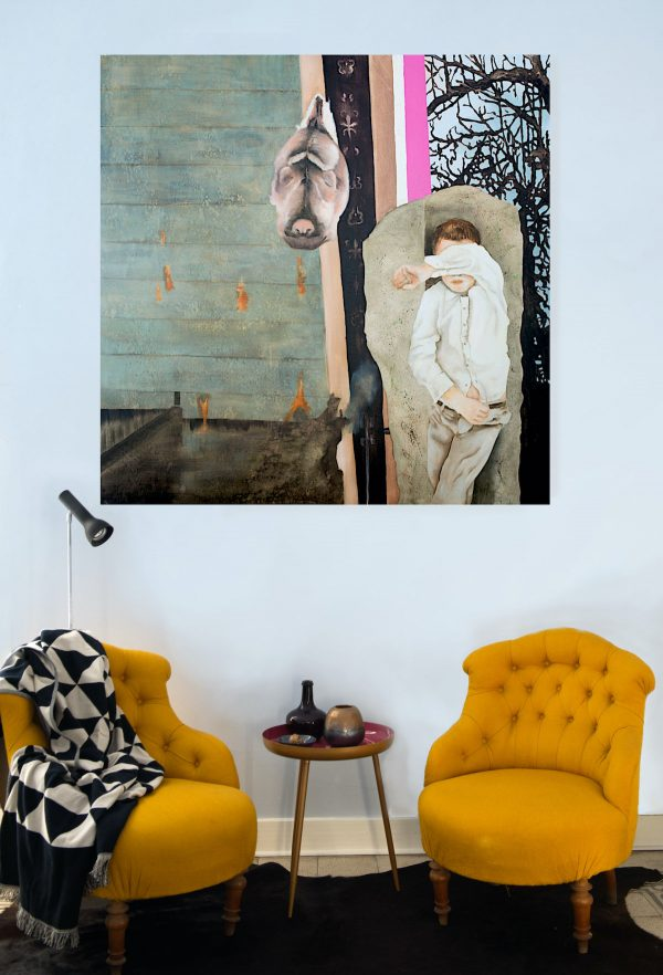 Painting Absence hanging in setting with 2 chairs