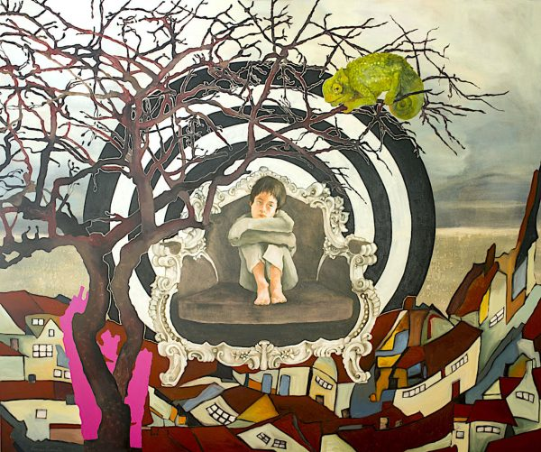 Artist Larissa Eremeeva's oil painting of an introspective young person seated with chameleon explores our anxieties and emotions