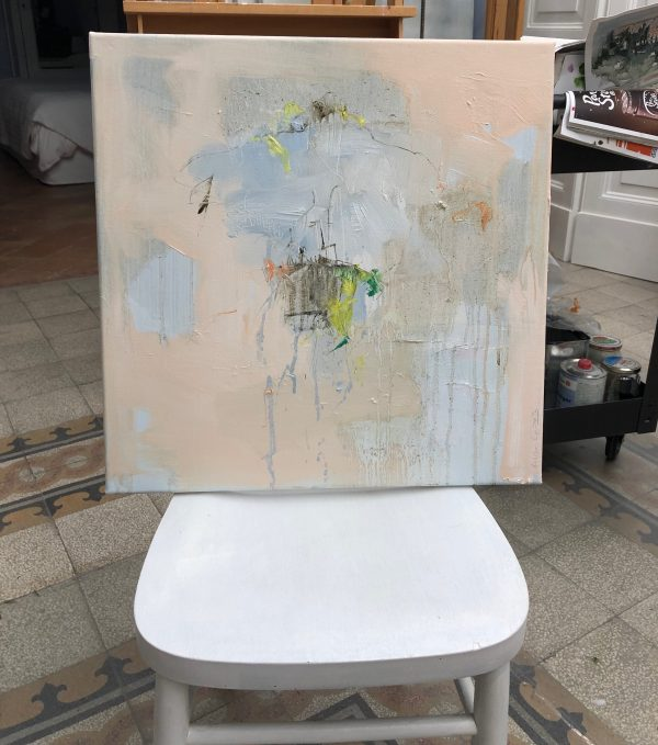 Abstract expressionist landscape Entering the Empty Space #7 on a chair