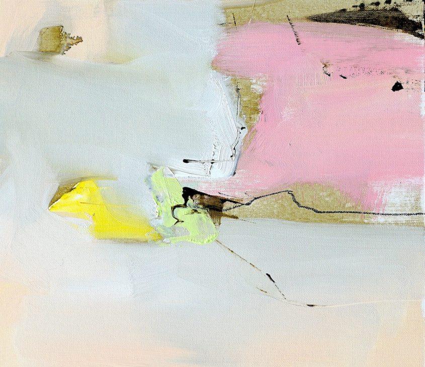 Abstract expressionist oil painting of Italian landscape in subdued palette with pink and yellow
