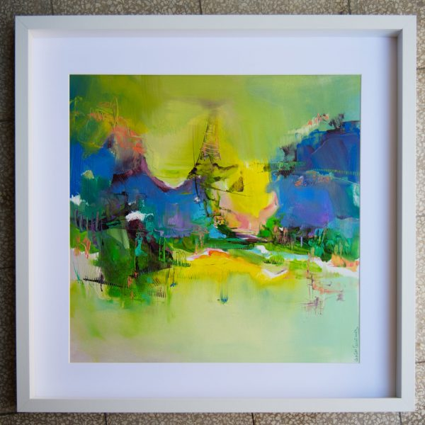 Abstract landscape Mood #41 in white frame