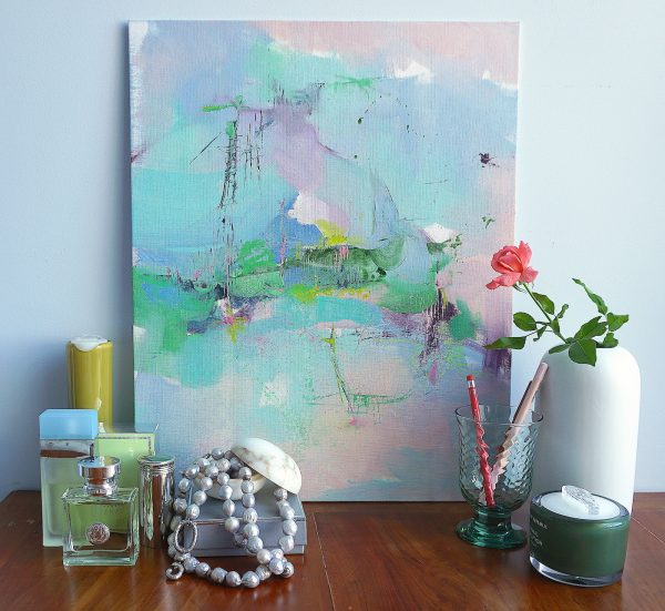 Abstract expressionist landscape oil painting Mood 57 against a wall standing on dressing table