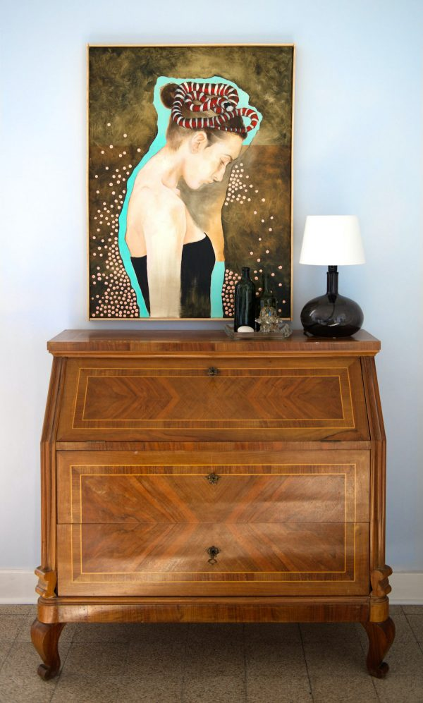 Painting Snake hanging in setting above bureau