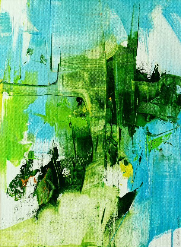 Abstract expressionist oil painting blue background green foreground with yellow orange highlights