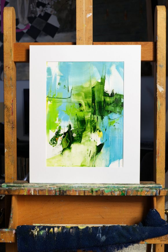Abstract expressionist paint Transition1 placed in mat on easel