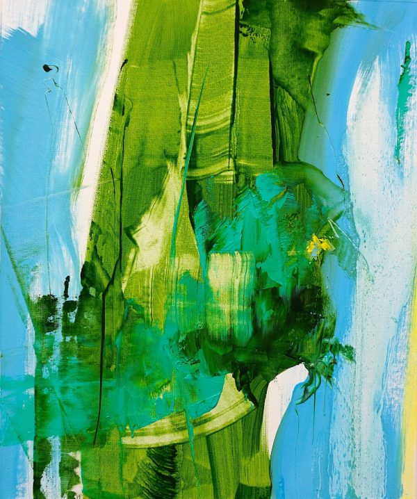 Abstract expressionist oil painting blue background green foreground with yellow highlights