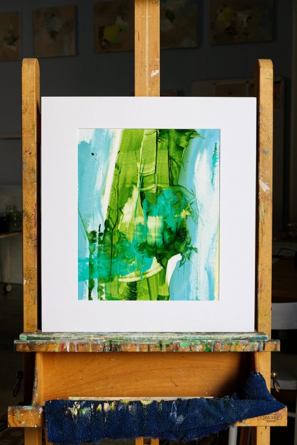 Abstract expressionist paint Transition2 placed in mat on easel