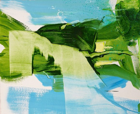 Abstract expressionist oil painting blue background green foreground
