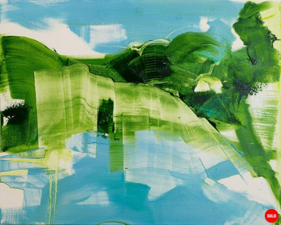 Abstract expressionist oil painting blue background with dynamic sweeping green foreground