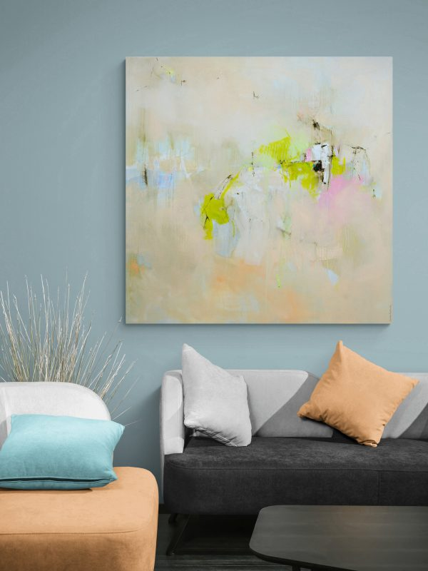 Abstract expressionist landscape oil painting hanging on a lounge wall