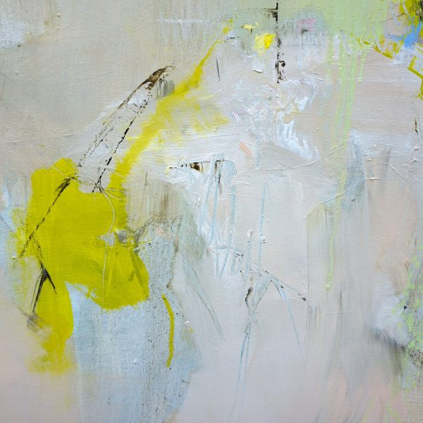 Detail of an abstract expressionist oil painting in the subdued palette of a hot Italian summer's day with bright green highlights
