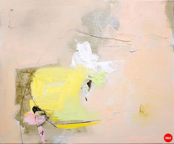 Abstract expressionist oil painting in subdued palette of a hot Italian summer with yellow and pink
