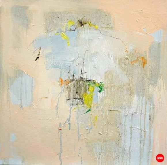 Abstract expressionist oil painting in the subdued palette of a hot Italian summer's day with orange, yellow highlights