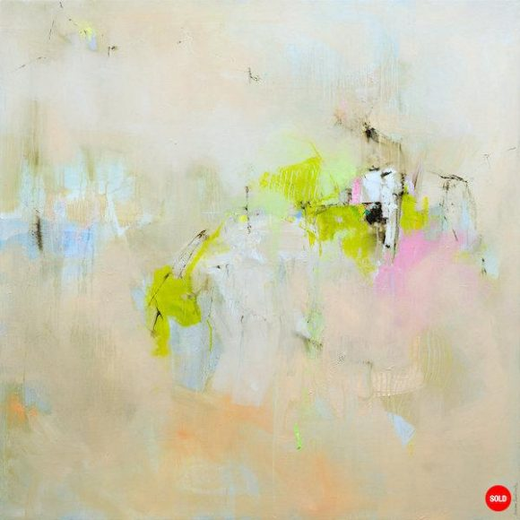 Abstract expressionist oil painting in the subdued palette of a hot Italian summer's day with bright green highlights