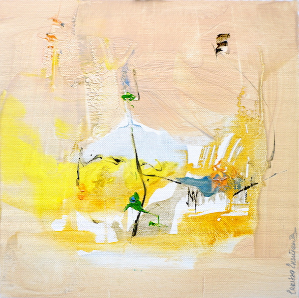 Abstract expressionist oil painting in the subdued palette of a hot Italian summer's day with earth and yellows